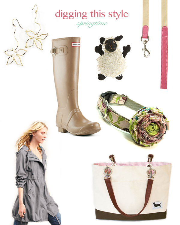 spring accessories for dog lovers and their dogs, dog leash, dog toy, hunter boots,