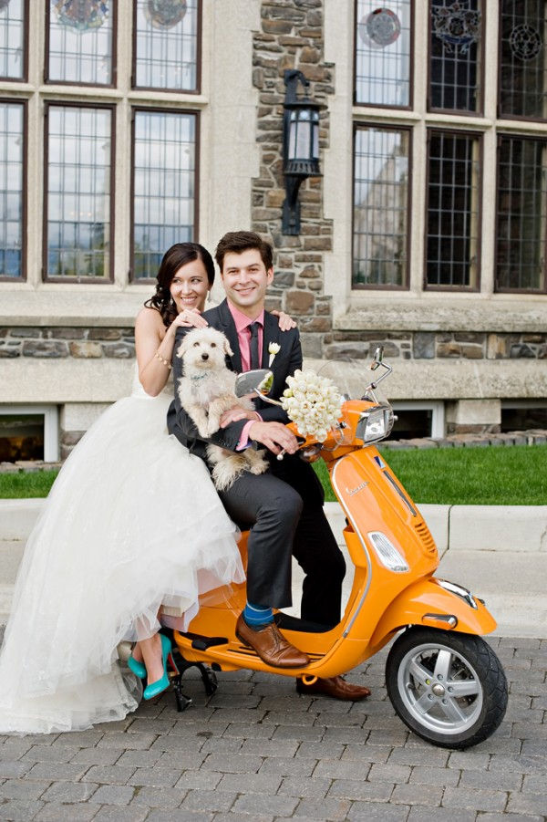 © Orange Girl | Daily Dog Tag |bride, groom, best dog and orange-Vespa