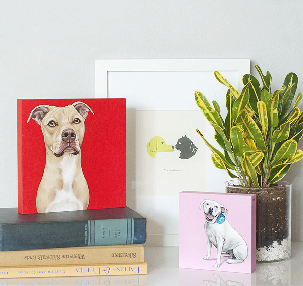 custom-pet-portraits, Staffordshire-mix-painting-with-red-background