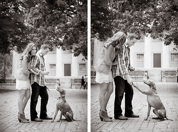 bw-Philly-engagement-photo-with-dog