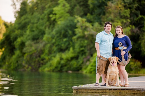 couple-and-dog-on-dock, Syracuse-engagement-photography