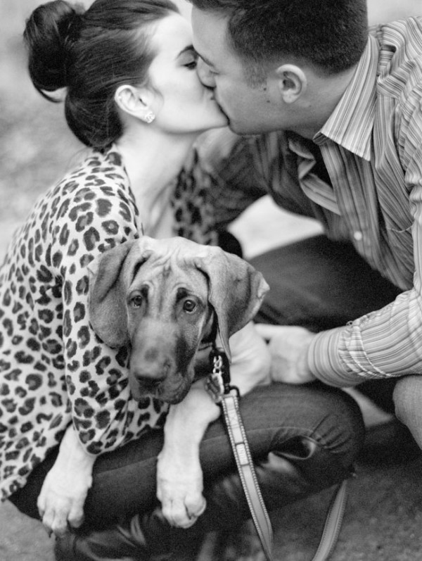 timeless-black-white-image-couple-and-puppy, WI-MN-wedding-photography