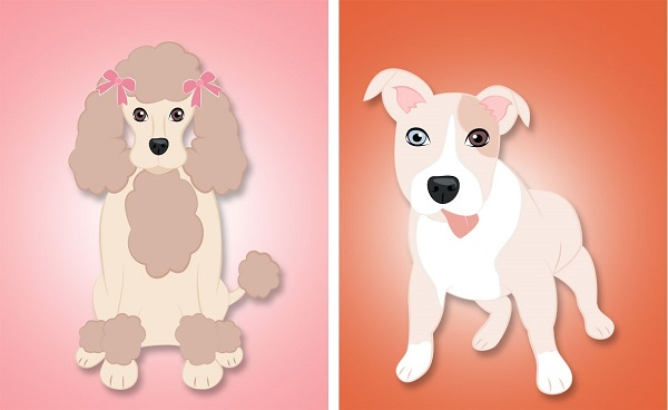 © Hot Dog Digital Pet Art, Poodle-Pitbull-Prints