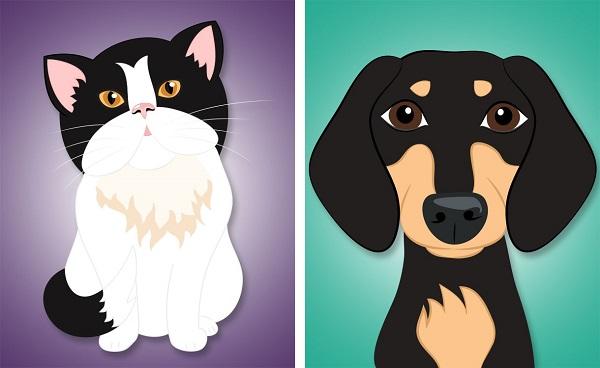 © Hot Dog Digital Pet Art, cheerful-pet-portraits, modern-dog-illustrations