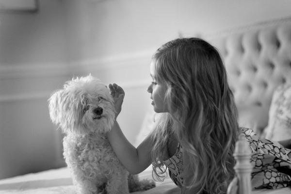 best friends: girl and maltese, little girl whispering secret to dog