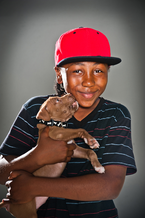boy with pit bull puppy, dog photography
