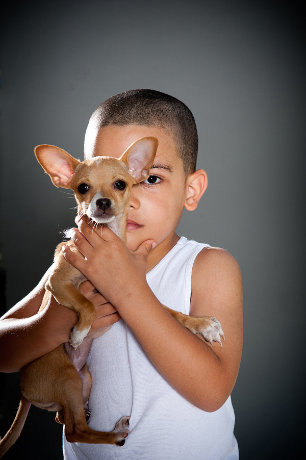 boy and his chihuahua, 4 R Friends vaccination clinic