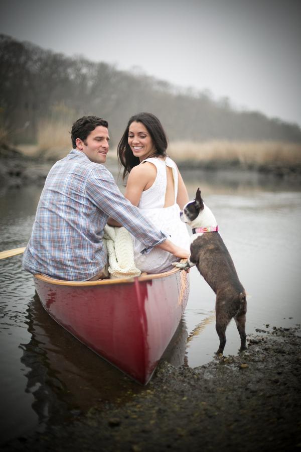 © Sarafina Photographs, Boston-Terrier-engaged-couple, red-canoe