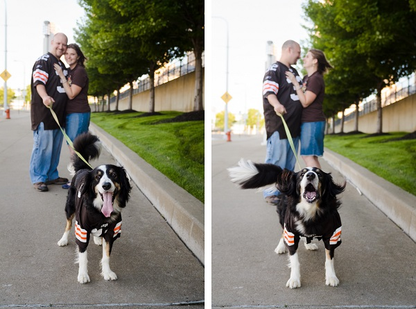 © Bouncing Light Photography, Cleveland-Browns-fan-engagement-session-with-dog