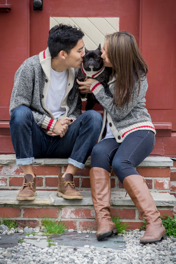Frenchie, couple in matching sweaters,