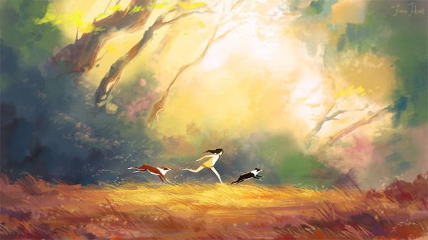 © Fiona Hsieh, me_roscoe_lancer_forest_running_painting_small_by_chaoslavawolf-