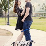 dalmatian-ouppy-with-leash-wrapped-around-beautiful-couple's-legs