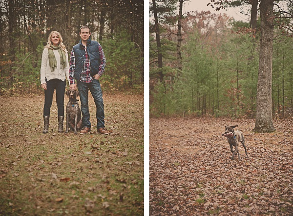 © Patrick Hadley Photography | Daily Dog Tag | Michigan-Engagement-Photos-in-woods-with-dog