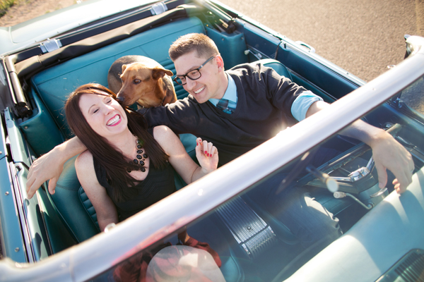 © Melissa Jill Photography | Daily Dog Tag | couple-and-dog-in-vintage-convertible