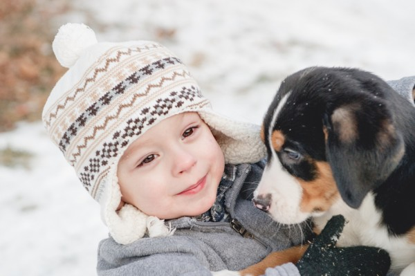 © Custom by Nicole Photography | Daily Dog Tag | Toddler-and-puppy-winter-day