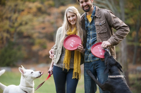 © Julia Jane Studios | Daily Dog Tag | Fall-engagement-session-in-woods, lab-can't-wait-for-frisbee