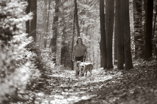 © Jessica Painter Photography | Daily Dog Tag | Woman-dogs-woods