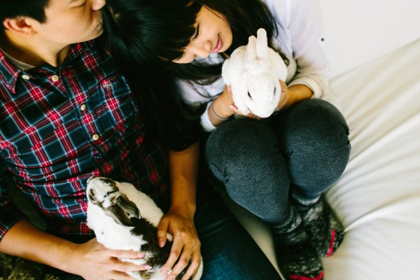 © Sarah Der Photography   Daily Dog Tag   engagement photos with bunnies