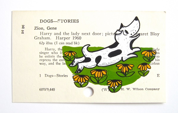 © WingedWorld |Harry The Dog, dog painting on library card art