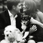 black-white-engagement-portrait-with-Corgi-and Westie