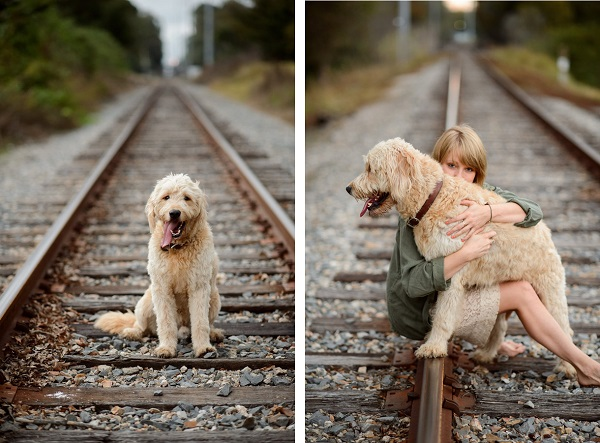 © Eye Wander Photo | dog and woman on railroad tracks, best friends forever