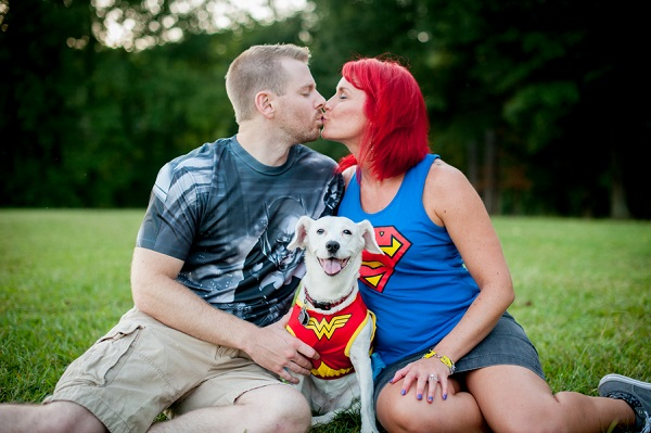 superhero engagement photos, Daisy the Wonderdog, dog wearing Wonder Woman costume