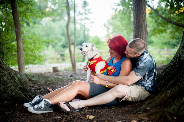 © Jules Photography | Superhero themed engagement photos with dog in Wonder Woman Costume