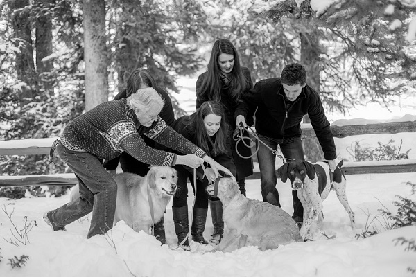 © Meigan Canfield Photography | funny family portraits, dogs playing snow