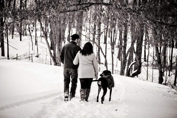 © Custom Portraits by Charlene | winter engagement session in woods, engagement photos with dog