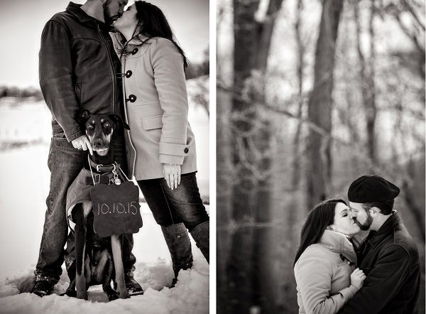 © Custom Portraits by Charlene | Save the date photo with dog, engagement session with dog