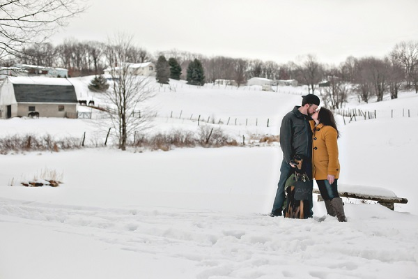 © Custom Portraits by Charlene| Pittsburgh portrait photography, Beautiful winter engagement photos of a couple and their dog