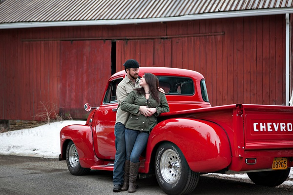 © Custom Portraits by Charlene | Engagement portrait with Chevy truck