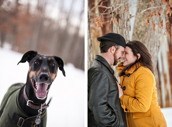 © Custom Portraits by Charlene| dog and engagement portraits, Beautiful winter engagement photos of couple and their dog
