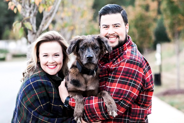 © Sarah Logan Photography | family christmas cards with dogs, puppy in Christmas card,  Labrador Retriever/Catahoula Leopard dog mix