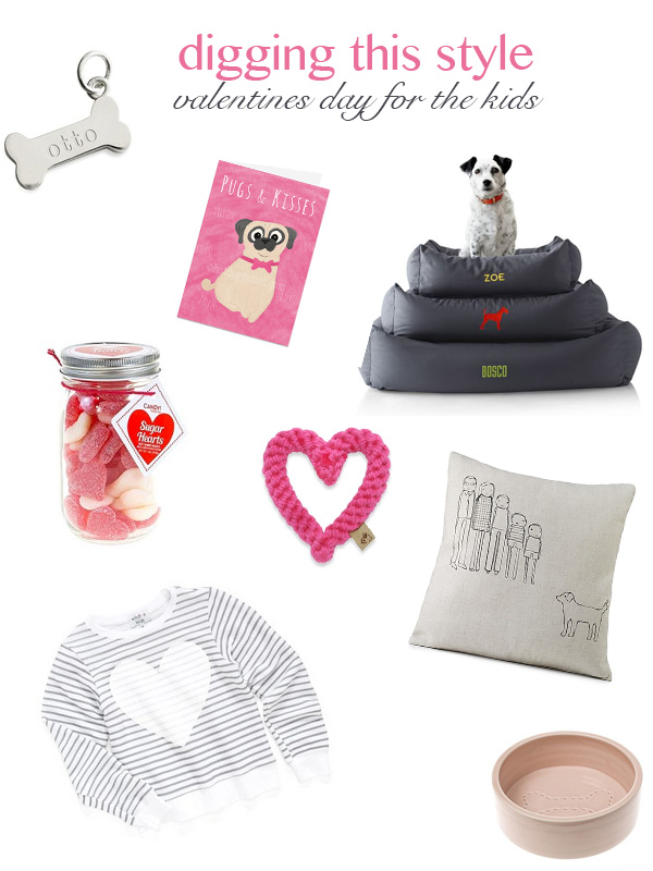 Valentine Gifts for kids and dogs, Valentine's Day for the kids, personalized charm, card, rope toy, dog bed, candy, girls' heart sweatshirt, personalized pillow, dog bowl