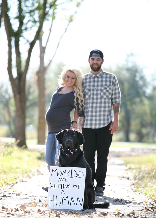 © Footsteps Photography |birth announcement photo with dog