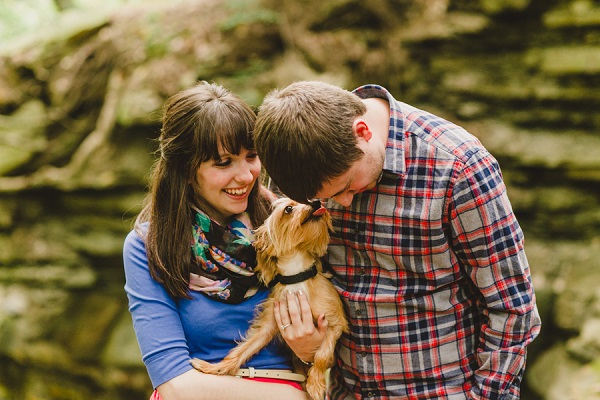 © Maria Sharp Photography | A fall Cuyahoga Valley National Park engagement session, lifestyle-dog-photography, Dorkie