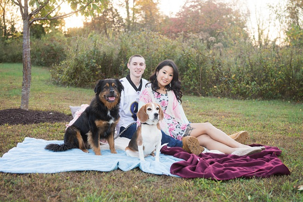 ©  Brooke Tyson Photography | engagement pictures with dogs, Beagle, Rottweiler-mix