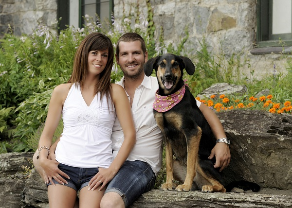 © Chantal Benoit Photographer | engagement pictures with dog, Lab Shepherd mix in flowered bandanna