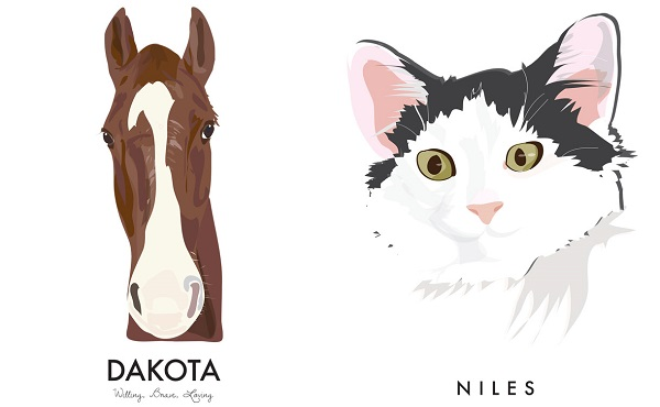 © Noble Friends Shop | Custom Pet  Illustrations, horse-cat