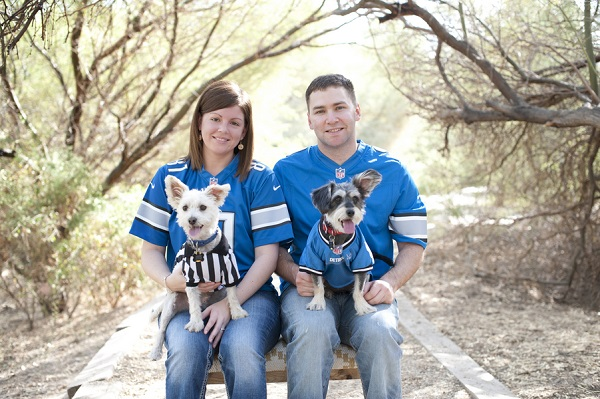 © Lauren Weeks Photography | football fan family-dogs, family-dog-lifestyle-photography, West Highland Terrier, Miniature Schnauzer