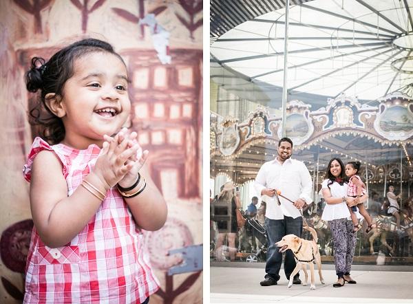 © Priyanca Rao Photography   joy, family-photo-shoot-with-dog, DUMBO photography session, dog and carousel