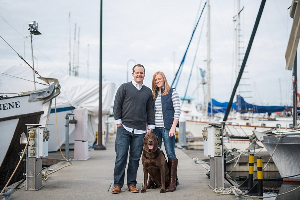 © Salt & Pine Photography | Chocolate Lab, dock engagement photos
