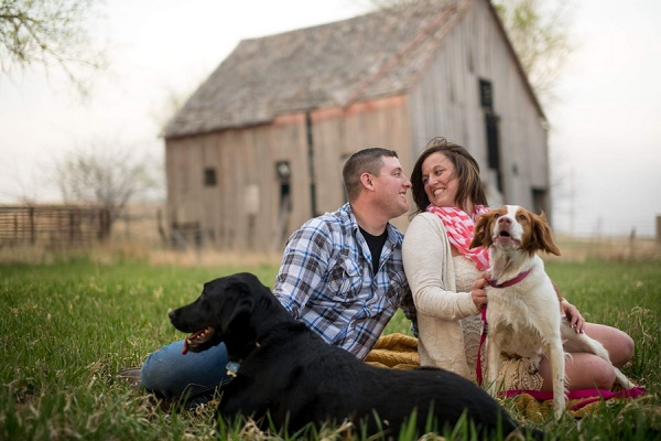 © Salt and Pine Photography | Engaged couple and their dogs, old barn, Lab, Spaniel, engagement photos