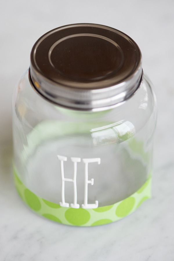 © Alice G Patterson Photography | applying-stickers-for-diy-treat-jar