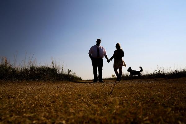 © Jamie K Photography | silhouette engagement photos with dog, Kansas wedding photographer