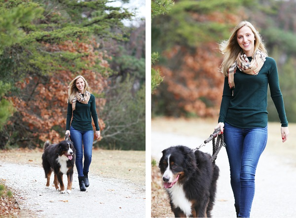 © Lindsay Collette Photography | lifestyle pet photography, woman walking Bernese Mountain Dog
