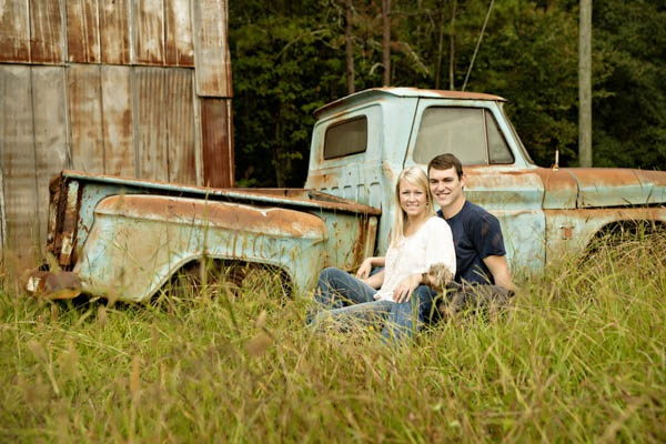 © Andie Freeman Photography  | country-engagement-photos-with-dog, old-Chevy-truck