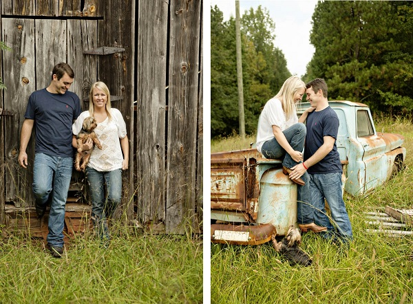 © Andie Freeman Photography| country-engagement-photos-with-dog, old-Chevy-truck