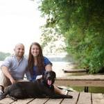 summer-engagement-photos, couple-Retriever-small-dock